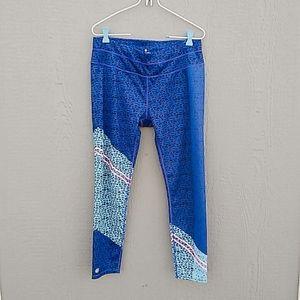 Athleta | blue patterned leggings size Large
